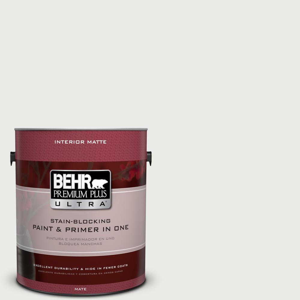 BEHR Premium Plus Ultra 1-Gal. #UL260-15 Gallery White Interior Flat Enamel Paint