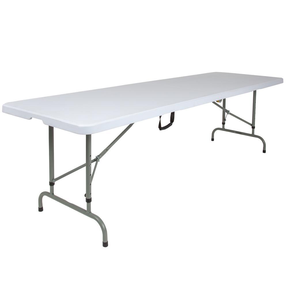 96 in. Granite White Plastic Tabletop Metal Frame Folding Table