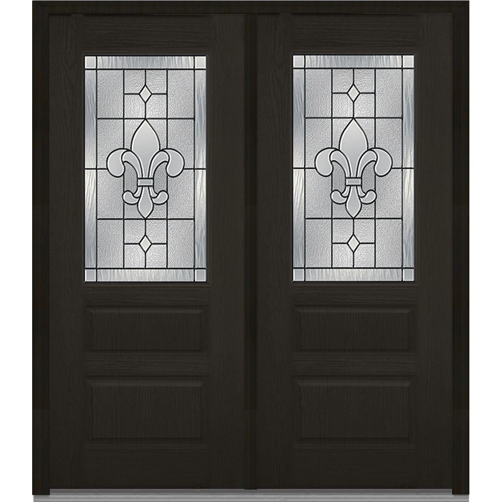72 in. x 80 in. Carrollton Left-Hand Inswing 1/2-Lite Decorative 2-Panel Stained Fiberglass Oak Prehung Front Door