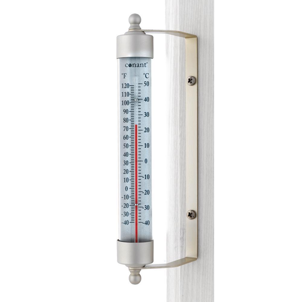 Decor Indoor/Outdoor Thermometer in Satin Nickel