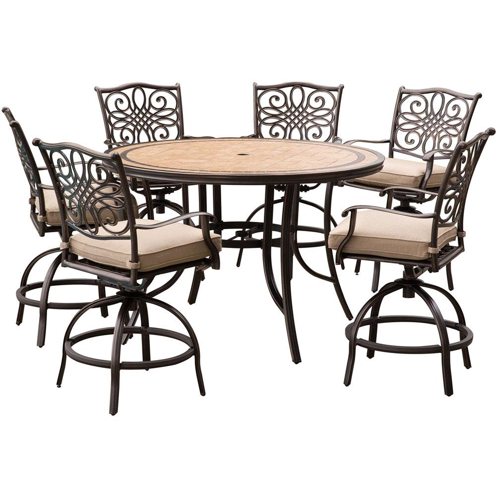 Hanover Monaco 7-Piece Aluminum Outdoor High Dining Set with Round Tile-Top Table and Swivel Chairs with Natural Oat Cushions