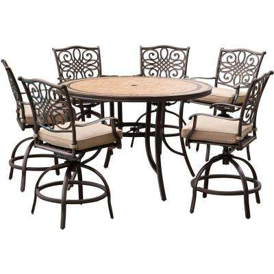 Superb Monaco 7 Piece Aluminum Outdoor High Dining Set With Round Tile Top Table And Swivel Chairs With Natural Oat Cushions Download Free Architecture Designs Scobabritishbridgeorg