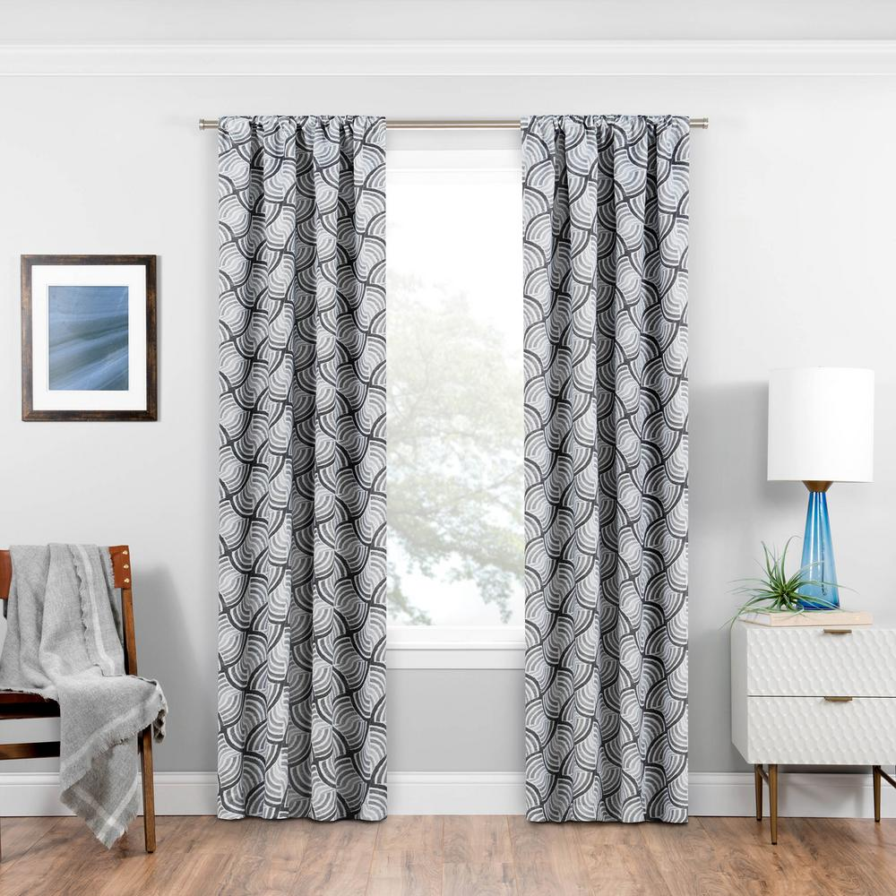 Blackout Benchley 84 in. L Charcoal Rod Pocket Curtain