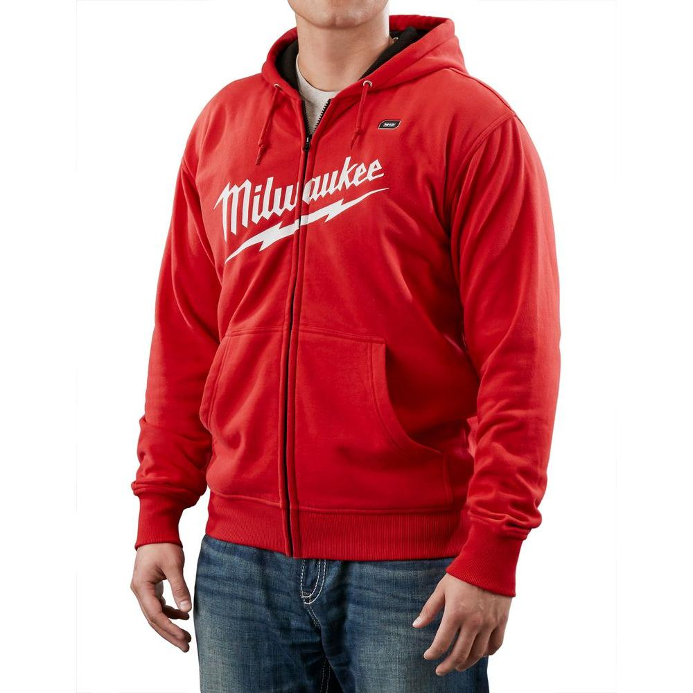 Milwaukee Large M12 Lithium-Ion Cordless Red Heated Hoodie (Hoodie Only)