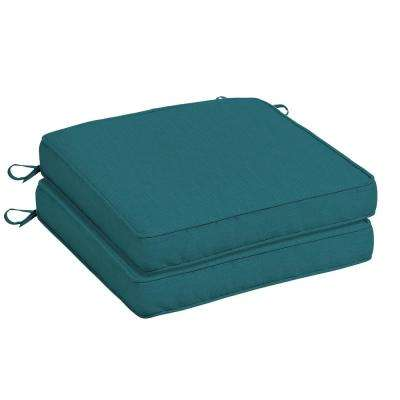 Sunbrella Spectrum Peacock Square Outdoor Seat Cushion (2-Pack)
