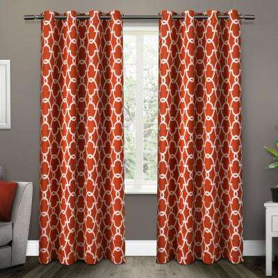 Gates 52 in. W x 84 in. L Woven Blackout Grommet Top Curtain Panel in Mecca Orange (2 Panels)
