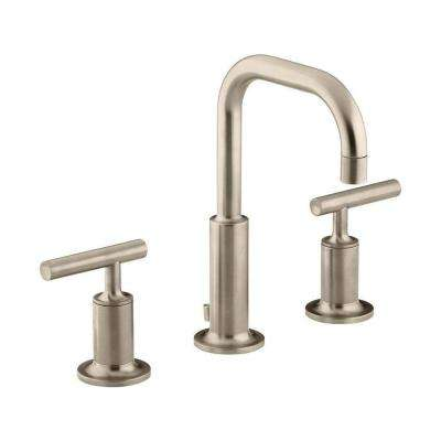 Purist 8 in. Widespread 2-Handle Low-Arc Water-Saving Bathroom Faucet in Vibrant Brushed Bronze with Low Gooseneck Spout