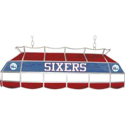 NBA Philadelphia 76ers NBA 3-Light Stained Glass Hanging Tiffany Lamp