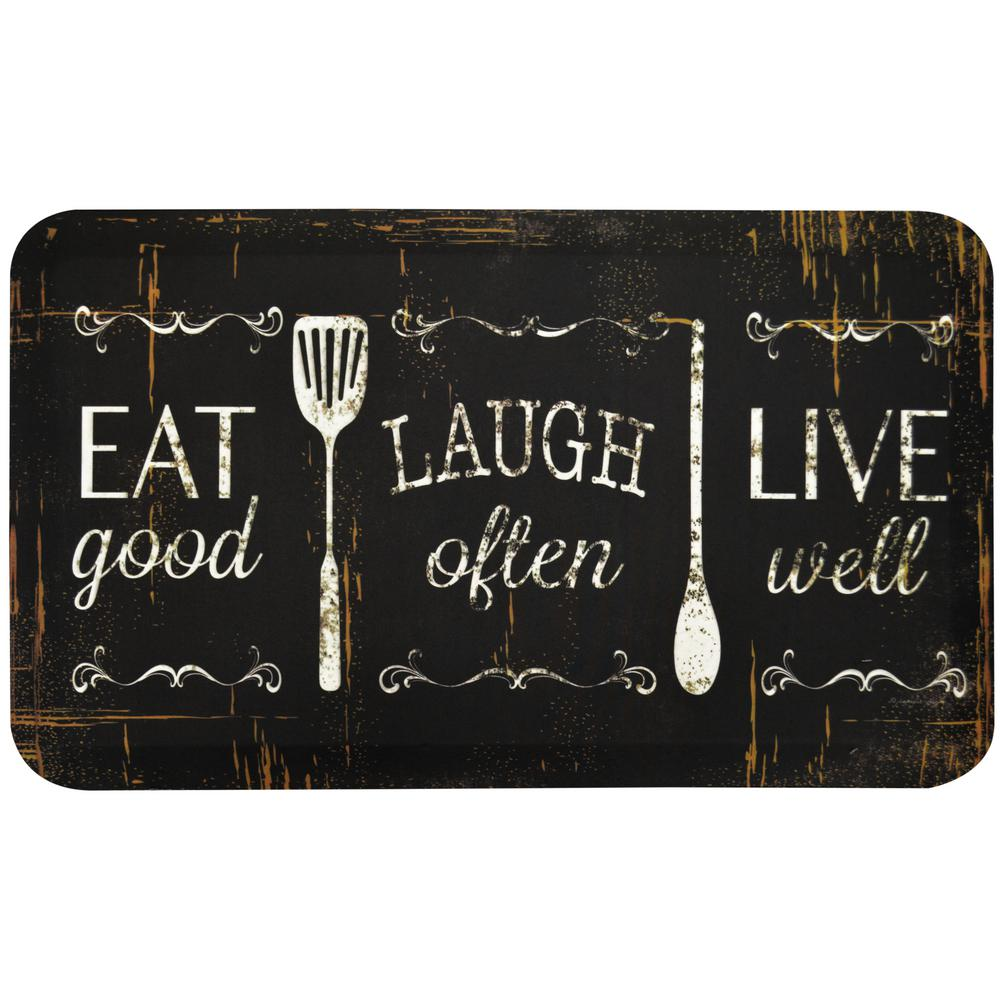 Home Dynamix Designer Chef Eat, Laugh, Live 18 in. x 30 in. Anti-Fatigue  Kitchen Mat