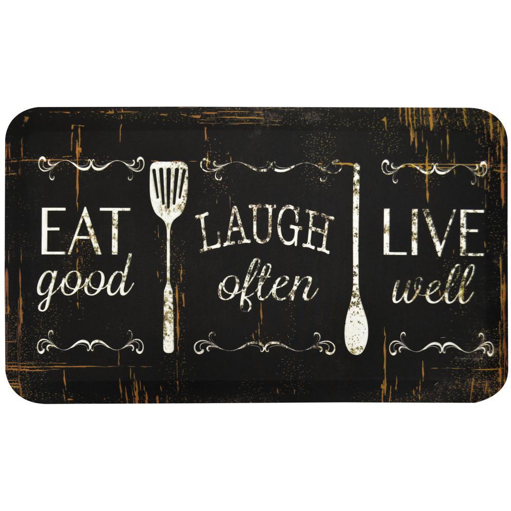 Designer Chef Eat, Laugh, Live 18 in. x 30 in. Anti-Fatigue Kitchen Mat