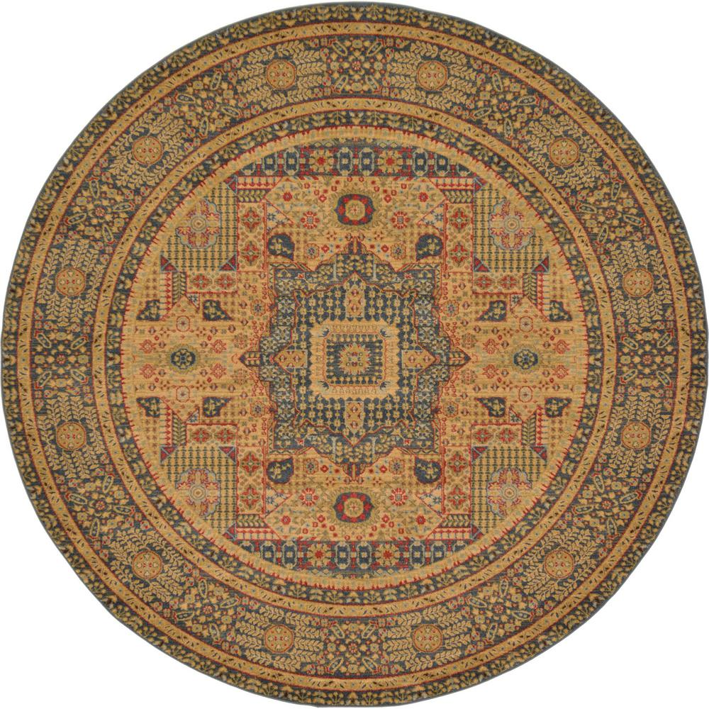 Unique Loom Palace Blue 8 Ft Round Rug