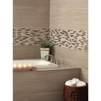 Diamante Brick 12 in. x 12 in. x 8 mm Glossy Glass Stone Mesh-Mounted Mosaic Tile (1 sq. ft.)