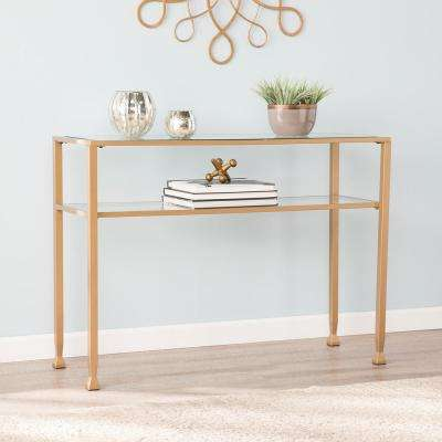 Galena Gold Metal and Glass Console Table