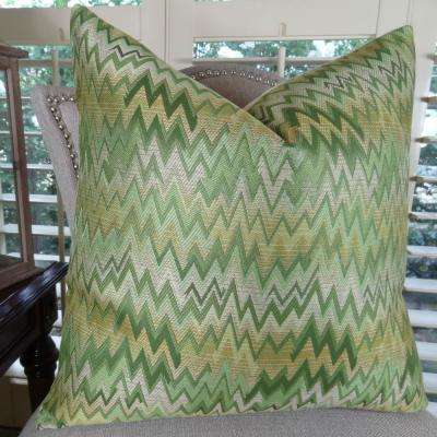 Peek Leaf 26 in. x 26 in. Green, Citrine and Taupe Hypoallergenic Down Alternative Double Sided Throw Pillow