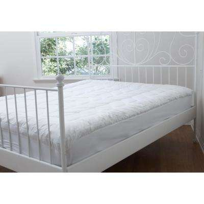 White Cotton Chevron Quilted King Mattress Pad