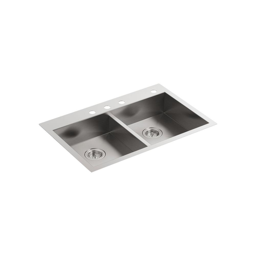 Vault Dual-Mount Stainless Steel 33 in. 4-Hole 50/50 Double Bowl Kitchen
