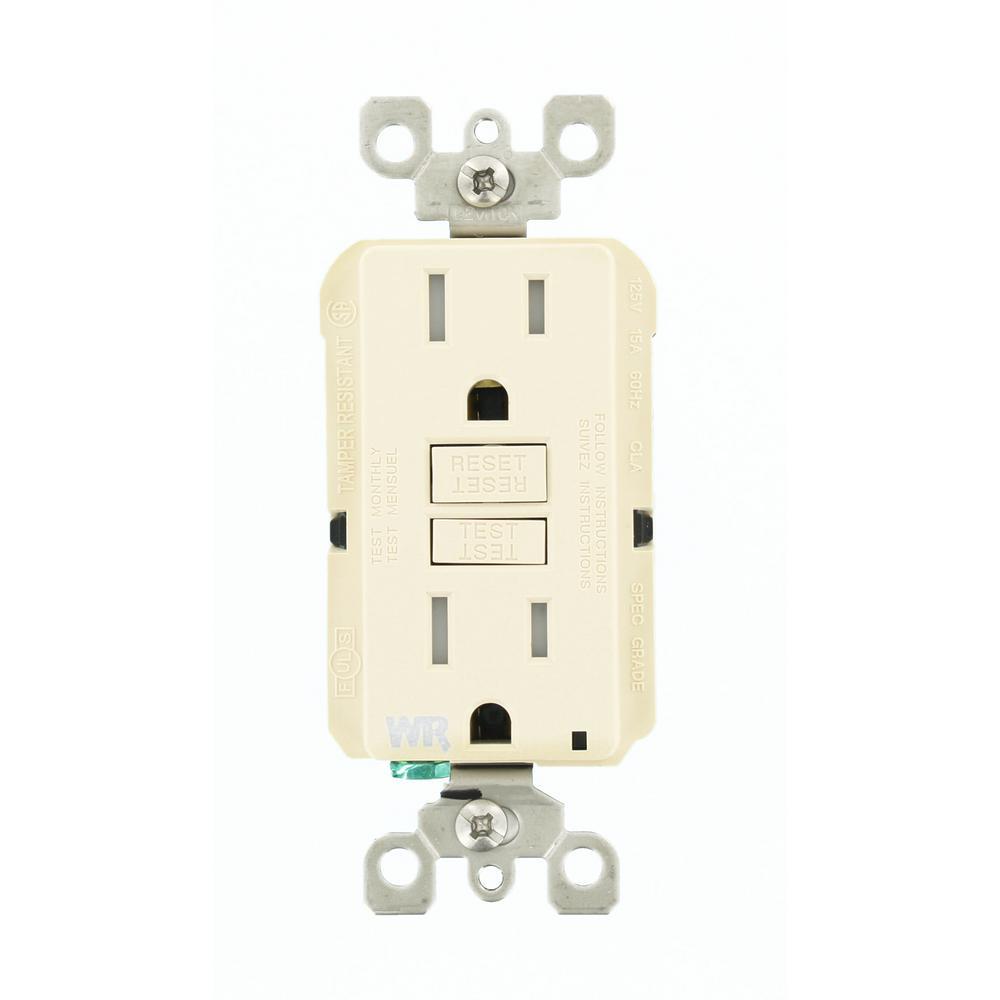 15 Amp SmartlockPro Weather/Tamper Resistant GFCI Outlet, Light Almond