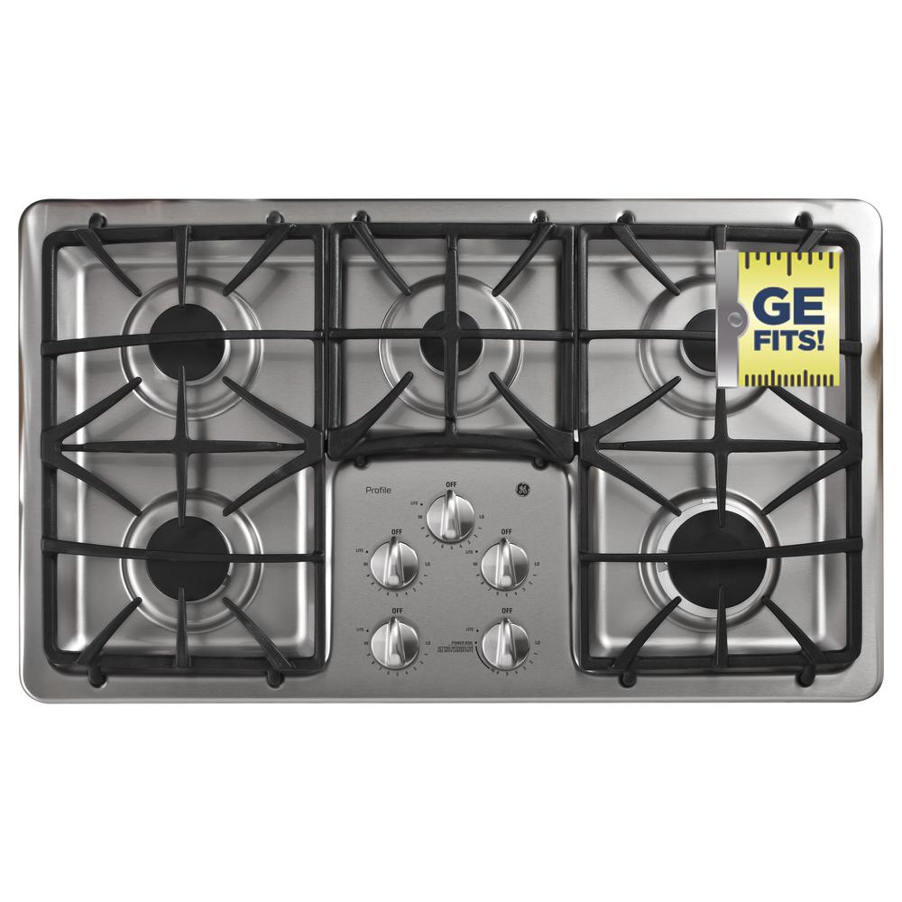 GE Profile 36 in. Gas Cooktop in Stainless Steel with 5 Burners including Power Boil Burner