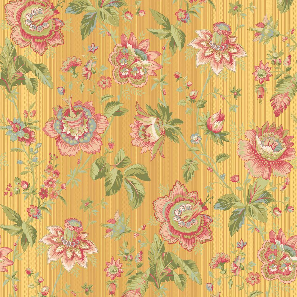 The Wallpaper Company 56 sq. ft. Lacquer Maize Fanciful Floral Trail Wallpaper