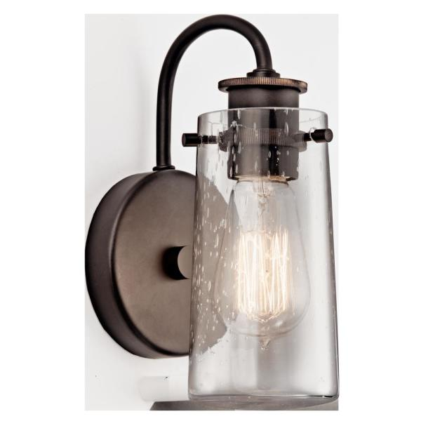 Braelyn 1-Light Olde Bronze Wall Sconce with Clear Seeded Glass Shade