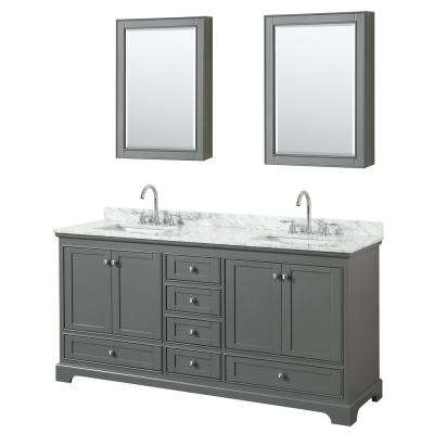 72 in. W x 22 in. D Vanity in Dark Gray with Marble Vanity Top in Carrara White with White Basins and Medicine Cabinet