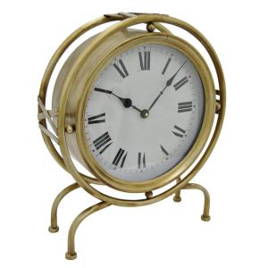 THREE HANDS 17 inch Gold Table Top Clock by THREE HANDS
