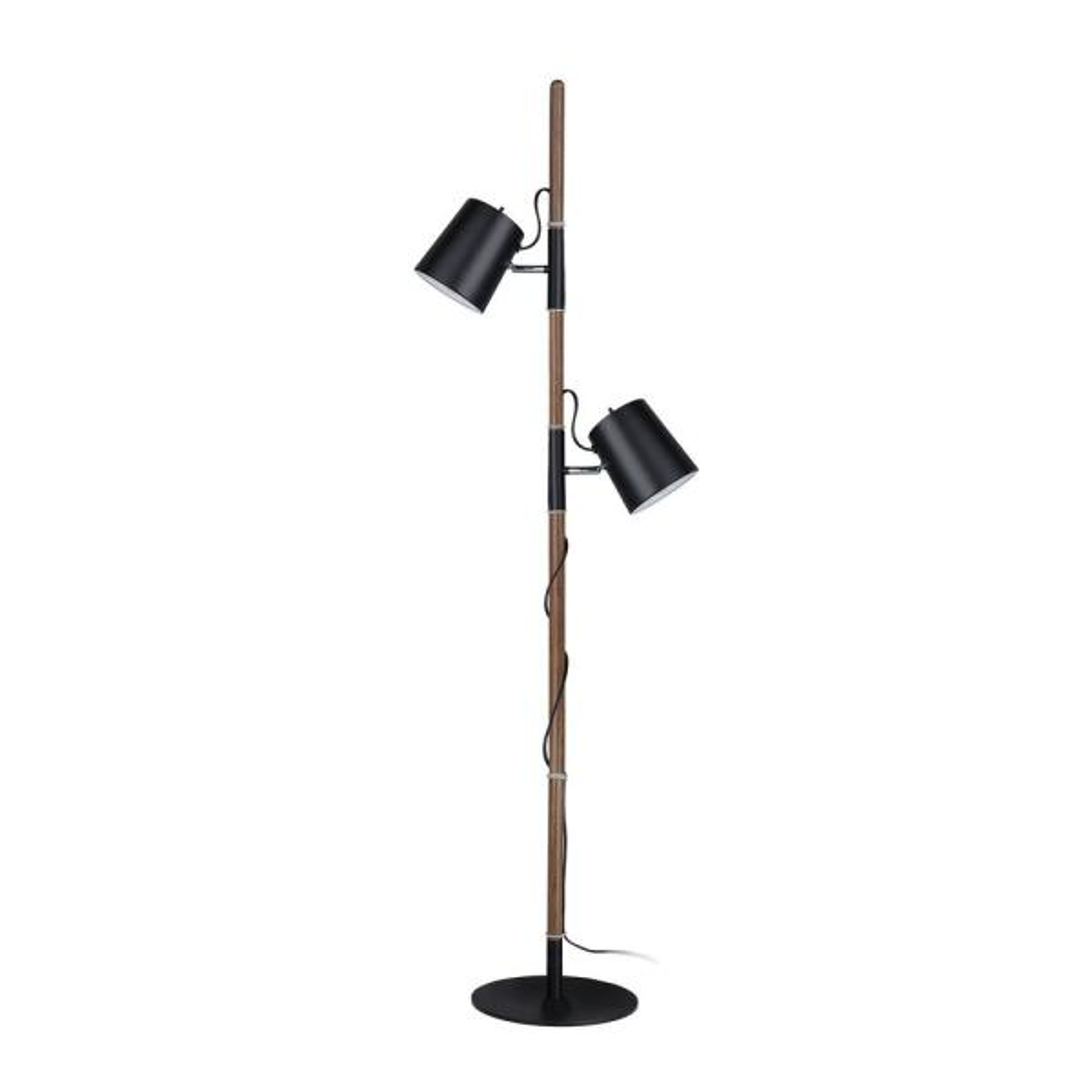 61-1/2 in. Matte Black Adjustable Tree Floor Lamp with 2-Metal Lamp Shades