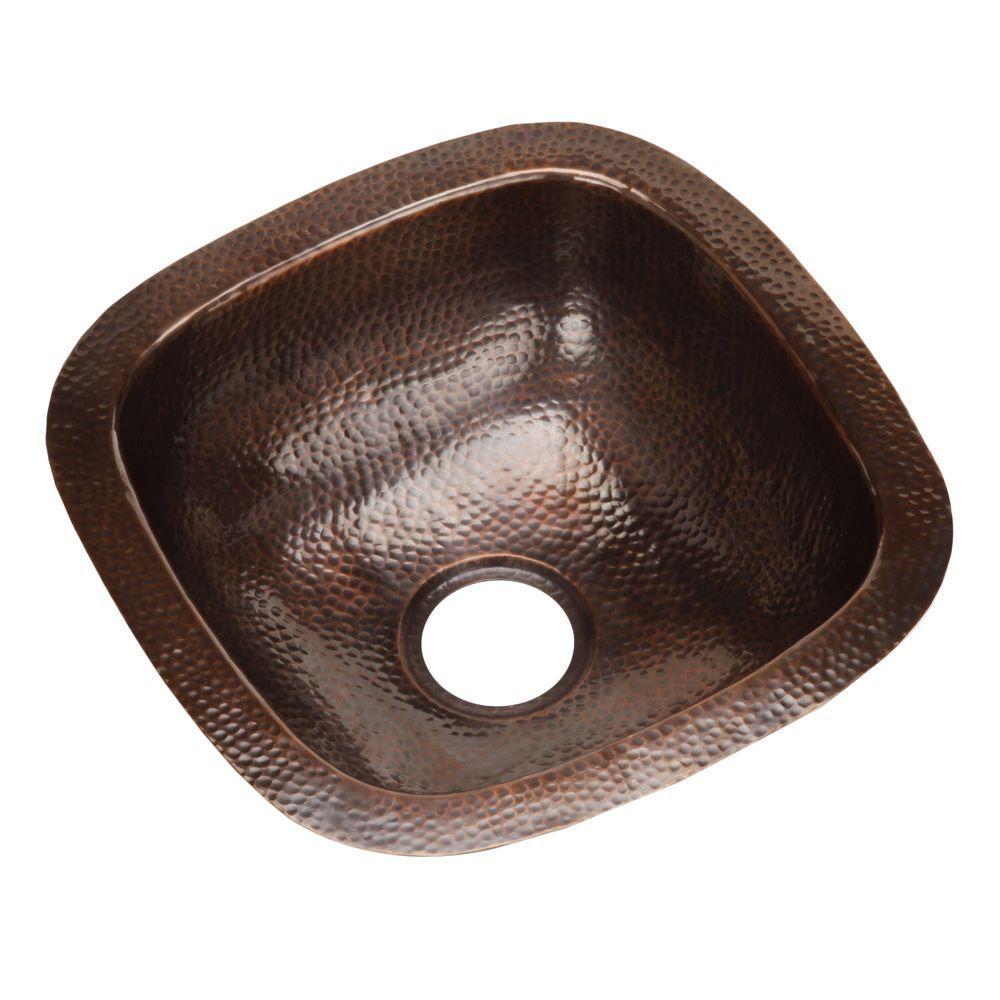 HOUZER Hammerwerks Series Undermount Copper 18 in. Single Bowl Bar/Prep Sink in Antique Copper