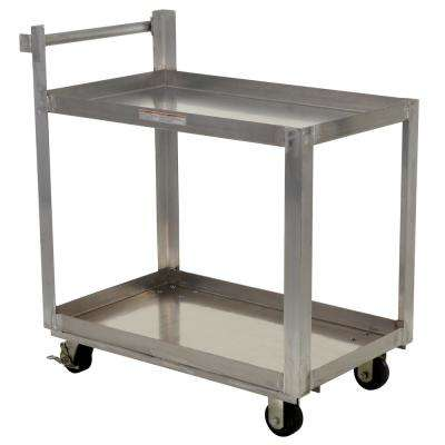 Aluminum Service Cart with Two 22 in. x 36 in. Shelves