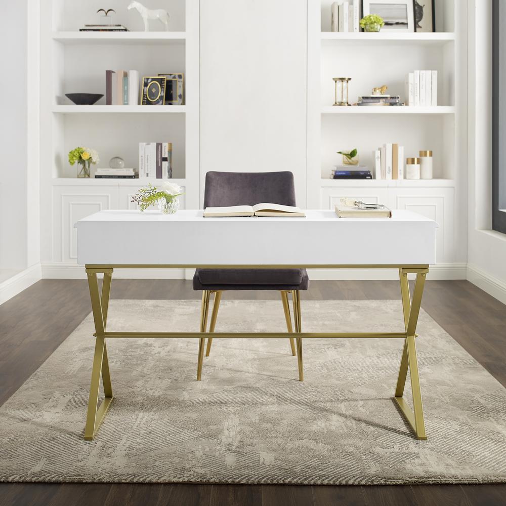 Linon Becca Two-Drawer White and Gold Campaign Desk