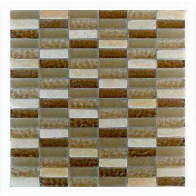 Quartz Beige Macadamia 11.7 in. x 11.7 in. x 7.94 mm Glass and Stone Mosaic Tile