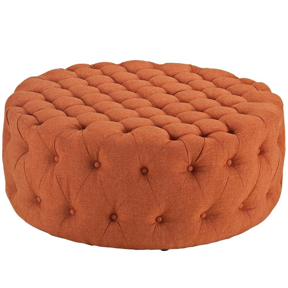 Orange Amour Upholstered Fabric Ottoman