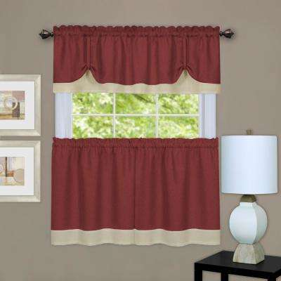 Darcy Marsala/Tan Polyester Tier and Valance Curtain Set - 58 in. W x 36 in. L