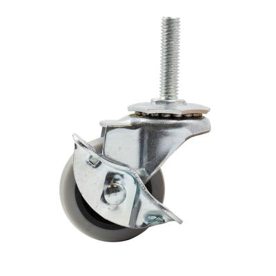 2 in. Medium Duty Gray TPR Swivel Stem Mount Caster with Brake 80 lbs. Weight Capacity