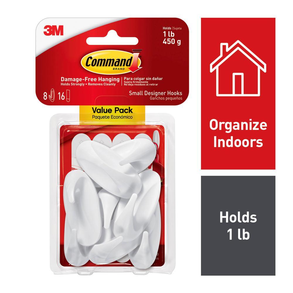 Command 2.125 in. Small White Designer Hooks Value Pack