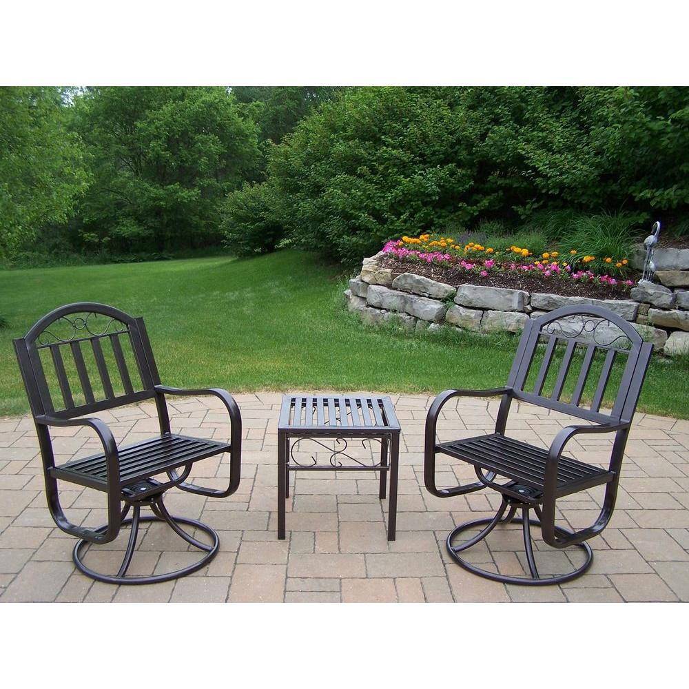 Oakland Living Rochester 3-Piece Patio Swivel Chair Set
