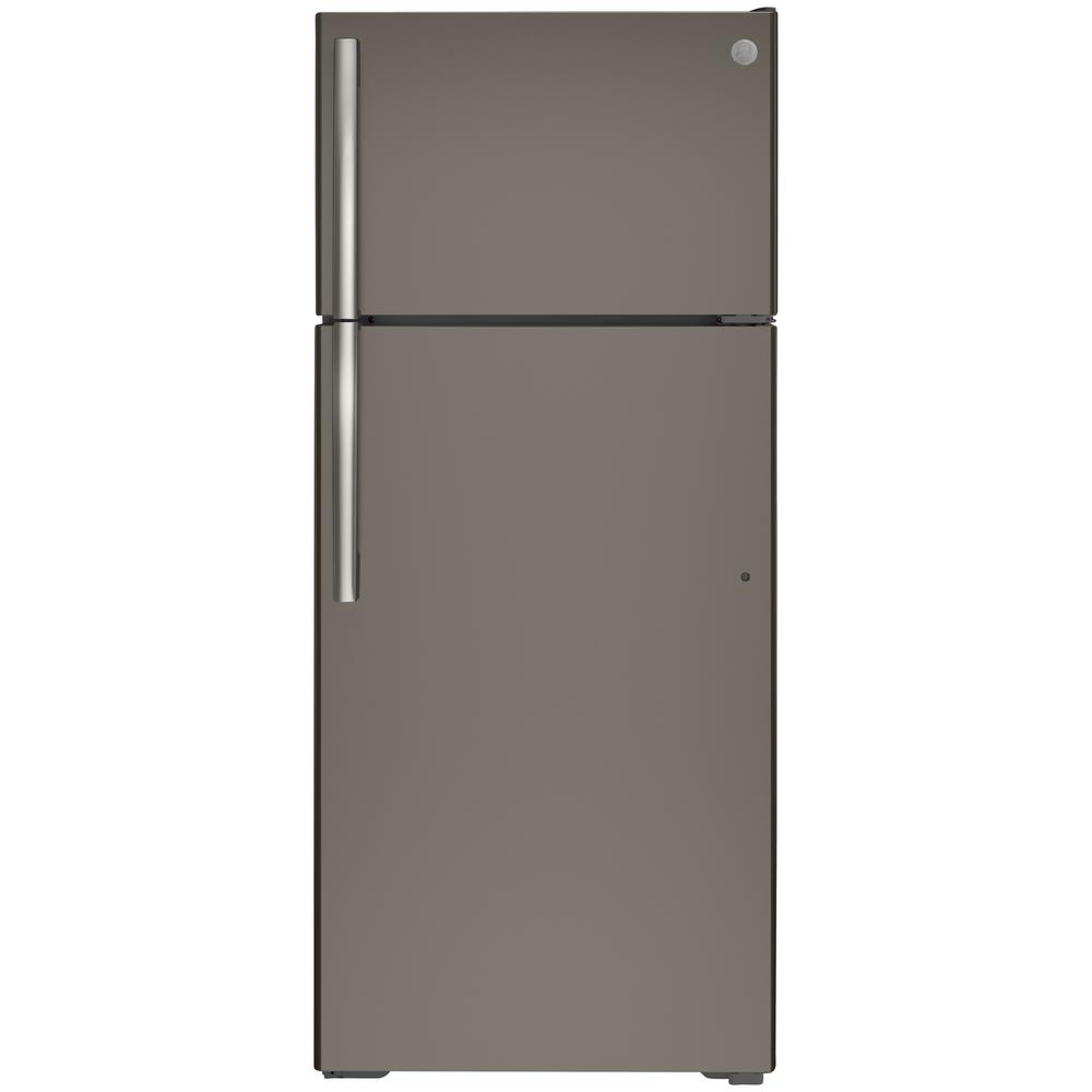 GE 17.5-cu ft Top-Freezer Refrigerator (Fingerprint-Resistant Slate) ENERGY STAR | GTE18GMNRES