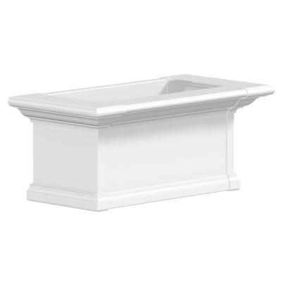 24 in. x 12 in. White Plastic Self-Watering Window Box