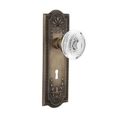 Meadows Plate Interior Mortise Crystal Egg and Dart Door Knob in Antique Brass