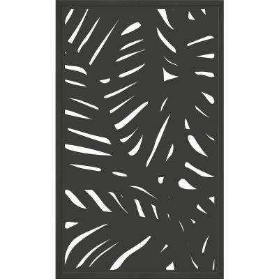 5 ft. x 3 ft. Charcoal Gray Composite Framed Modinex Decorative Fence Panel Featured in the Palm Design
