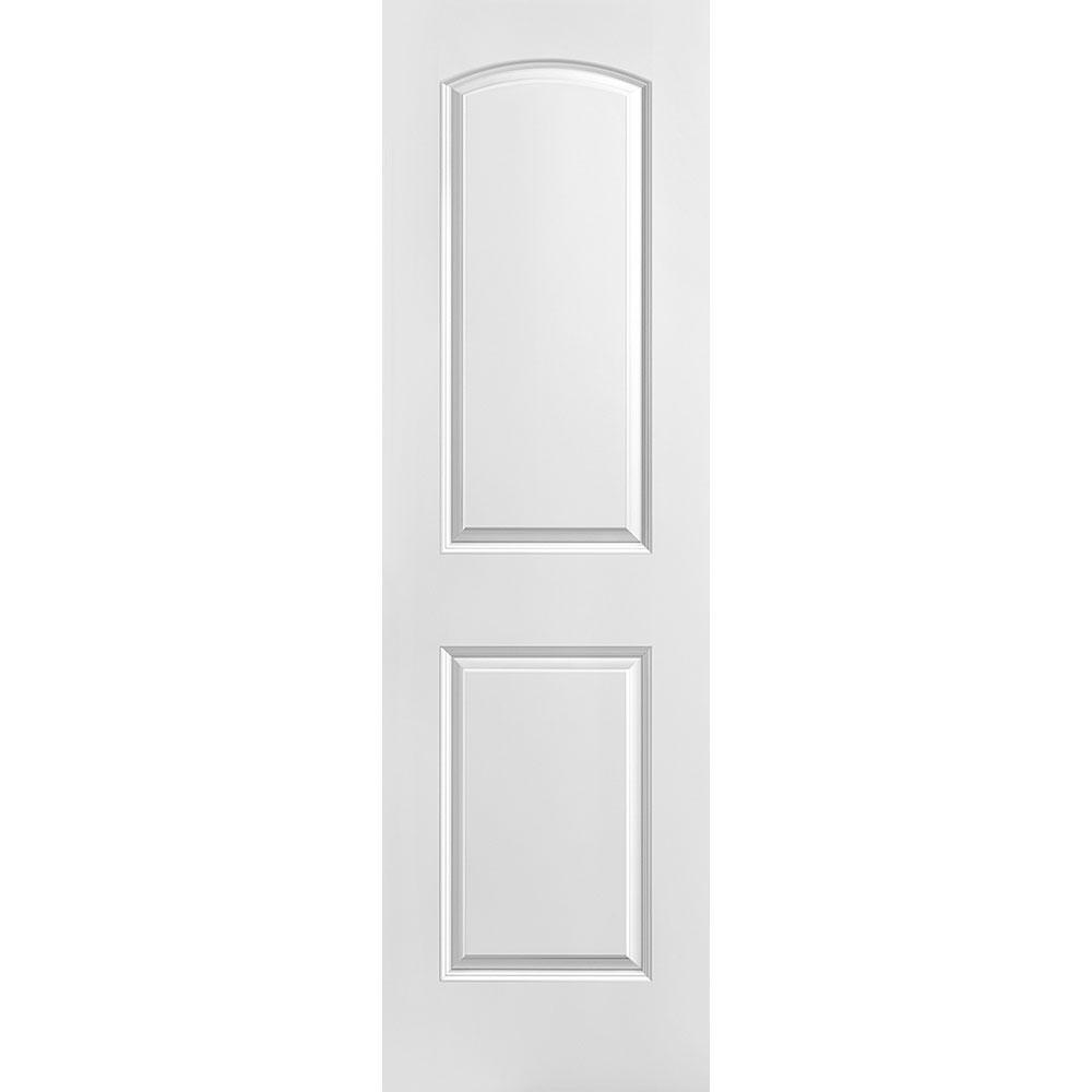 24 in. x 80 in. Solidoor Roman Smooth 2-Panel Round Top Solid Core Primed Composite Interior Door Slab