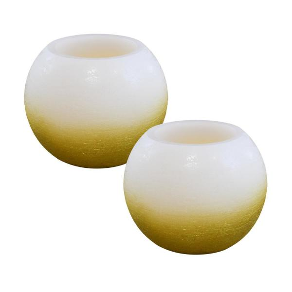 Battery Operated Wax LED Candles - Gold and White Ball (Set of 2)