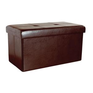 Simplify Faux Leather Double Folding Storage Ottoman in Chocolate