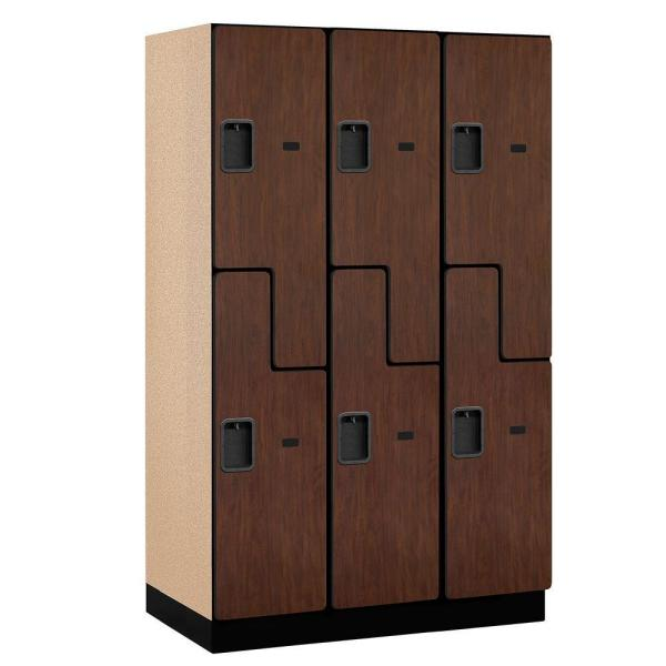 27000 Series 2-Tier 'S-Style' Wood Extra Wide Designer Locker in Mahogany - 15 in. W x 76 in. H x 21 in. D (Set of 3)