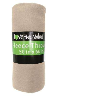 50 in. x 60 in. Tan Super Soft Fleece Throw Blanket