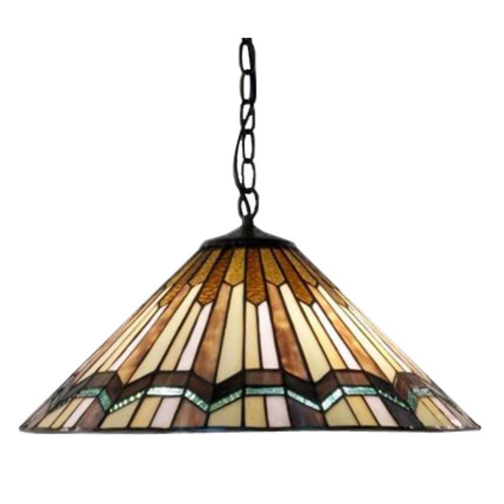 Warehouse Of Tiffany Arrow Head 2-Light Brown Hanging Lamp