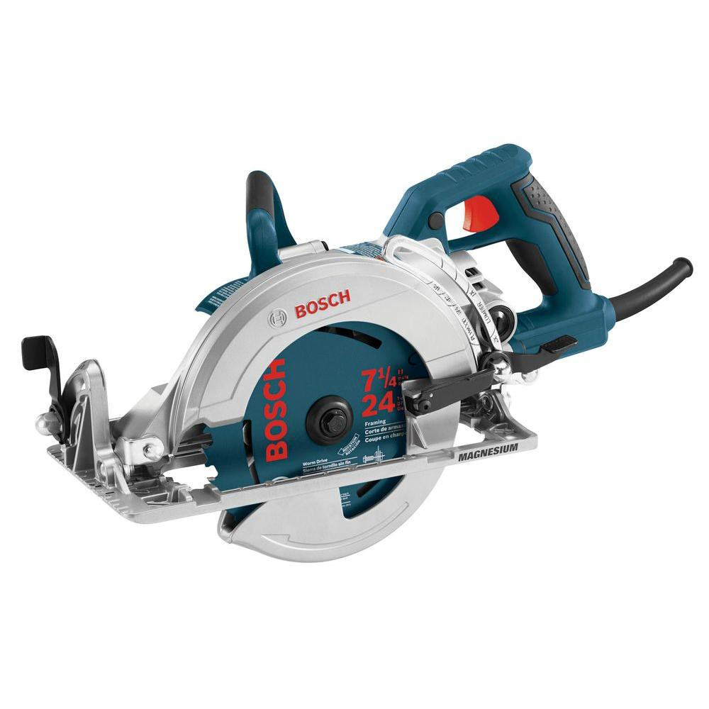 Bosch 15 amp corded 7 14 in worm drive circular saw with carbide worm drive circular saw with greentooth Image collections