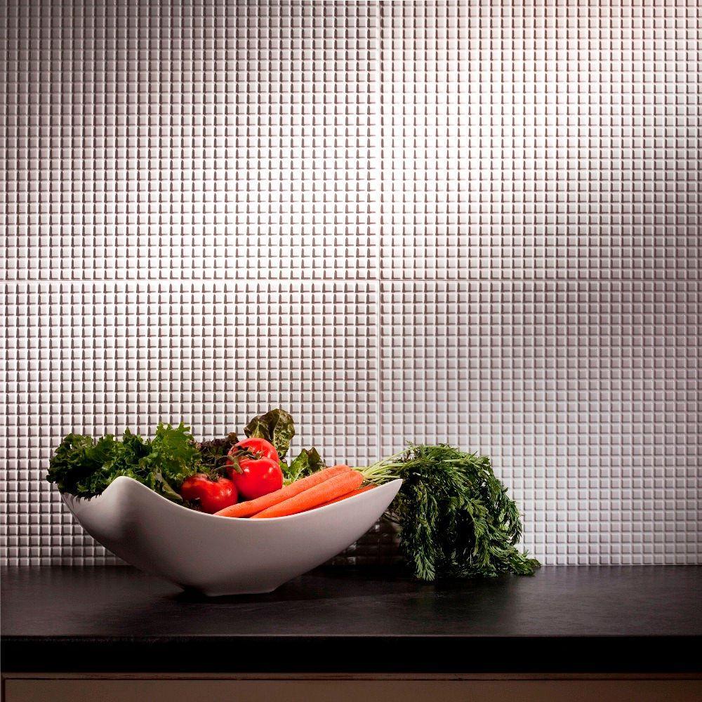 24 in. x 18 in. Squares PVC Decorative Tile Backsplash in Gloss White