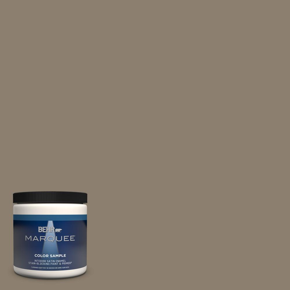 Behr Marquee 8 Oz Bnc 36 Restful Brown Satin Enamel Interior Exterior Paint And Primer In One Sample Mq32316 The Home Depot