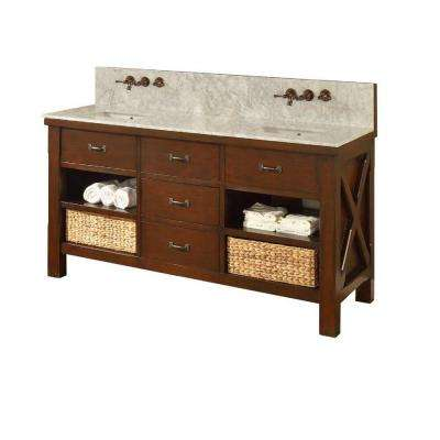 Xtraordinary Spa Premium 70 in. Double Vanity in Dark Brown with Marble Vanity Top in Carrara White with White Basin